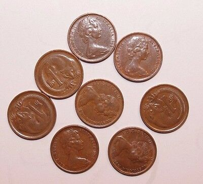 1968, 1 Cent Australia Low Mint only 19 MM Minted Lot of 8 Very High Value Coins