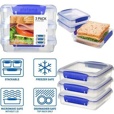 KLIP IT Collection Sandwich Box 1.9 Cup Compact Food Storage Container, 3 Pack