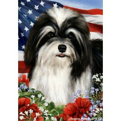 Patriotic (1) House Flag - Black and White Havanese 16092