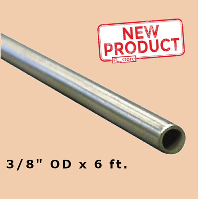 """Round Tubing 3/8 Inch OD x 6 Feet. Welded Stainless Steel 0.305"""" Inside Dia NEW"""