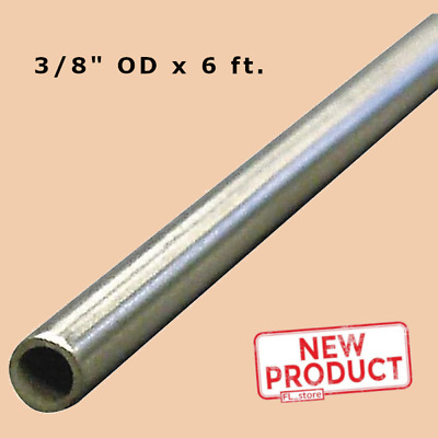 """Round Tubing 304 Stainless Steel 3/8 Inch OD x 6 Feet Welded 0.319"""" Inside Dia"""