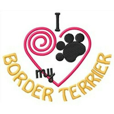 "I ""Heart"" My Border Terrier Short-Sleeved T-Shirt 1381-2 Sizes S - XXL"