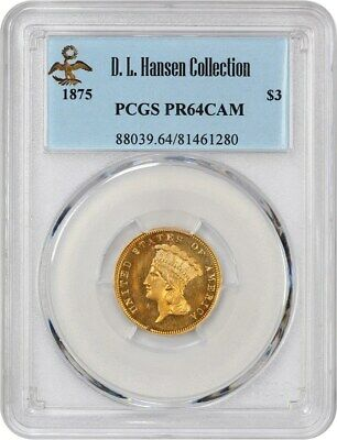 1875 $3 PCGS PR 64 CAM ex: D.L. Hansen - Rare Proof Issue - 3 Princess Gold Coin