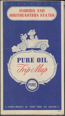 Pure Oil Gasoline Road Map Florida & Southeastern States 1947