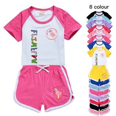 Kids Flamingo Flim Flam Outfits Costume T-shirt Shorts PJ'S Loungewear Tracksuit