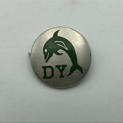 """DY Dolphin Lapel Hat Pin Unknown Not Sure 3/4"""" Silver Tone + Green   N1"""