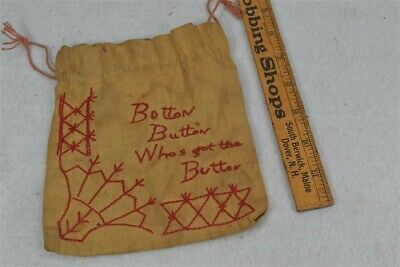 early old button bag fabric red work Button Button embroidered 19th c 1800s