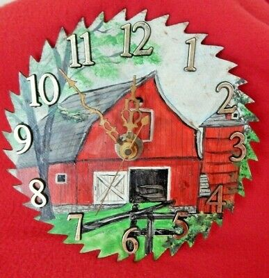 """BARN SCENE 6-1/2""""Hand-Painted Real Saw Blade Clock Working & Signed"""