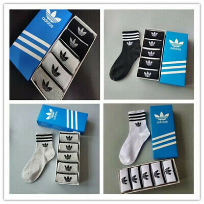 Adidas Mens Womens 5 Pairs Cushioned Socks Crew Socks Sports Gym Cotton