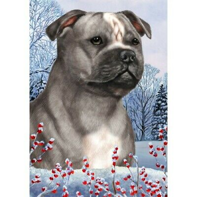 Winter House Flag - Blue and White Staffordshire Bull Terrier 15248