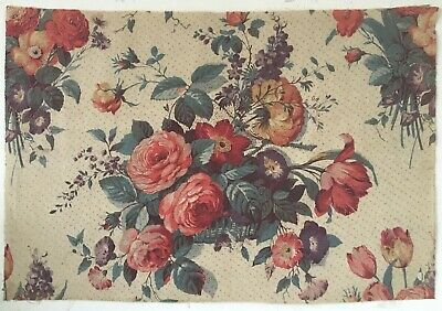 Beautiful 1930's Printed French Linen Floral Fabric (2681)