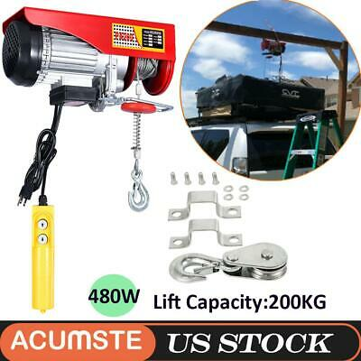 480W 440lbs Electric Wire Cable Hoist Overhead Crane Lift with Remote Control