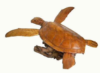 Huge Hand Carved Mahogany Wood Turtle Coral Nautical Art Sculpture Tropical