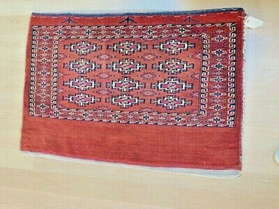 Antique Turkmen Large Red Tribal Bag Woven Wool Textile Geometric Tapestry Vtg