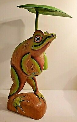 Wood Carved Frog Sculpture With Water Lilly Leaf Umbrella Garden Home Decor