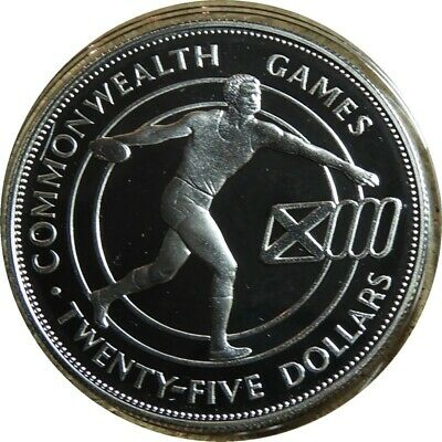 elf Barbados 25 Dollars 1986 Silver Proof Commonwealth Games Discus