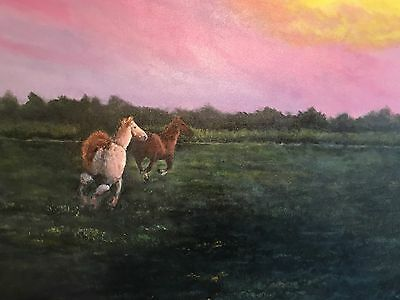 "Original Painting by Todd Cox   24 x 36 ""Running Free"". Horses"