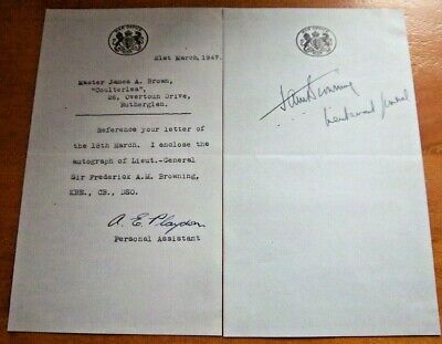 Lieutenant General Sir Frederick A.m Browning Signed On Piece + Signed Letter