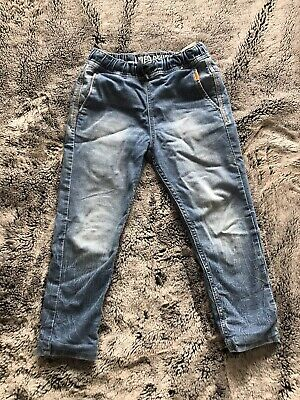 Lined Denim boys 100% cotton blue denim pull on lined jeans age 5-6 years