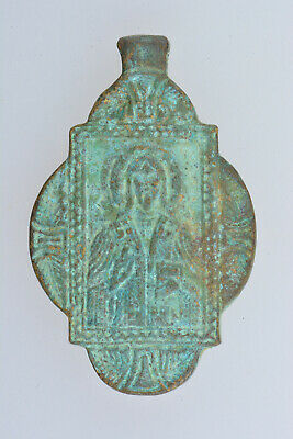Byzantine Bronze Pendant Icon Jesus Christ 800 AD, Size 55x35 wearable