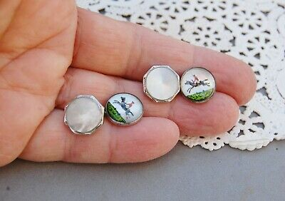 Cufflinks Reverse Painted Molded Glass Horse Rider Jump Mother-of-Pearl Vintage
