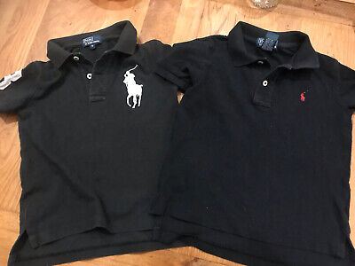 RALPH LAUREN boys Black Polo Collared Tee T Shirts Tops Age 4