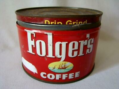1952 Advertising FOLGER'S Sailing Ship Lithograph Key Wind COFFEE Tin