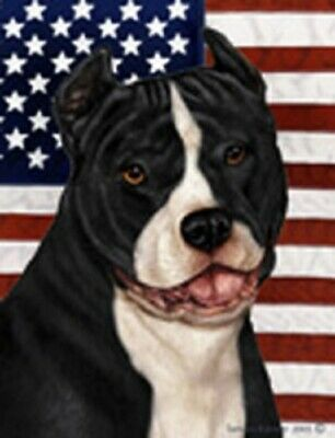 Patriotic (D2) House Flag - Black and White American Pit Bull Terrier 32405
