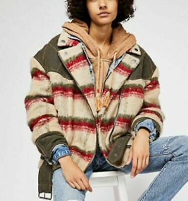 Free People Montana Wool Blend Cozy Slouchy Jacket Oversized Belted Size S $298