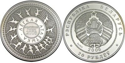 elf Belarus 20 Roubles 2006 Silver Proof Olympic Games Runners