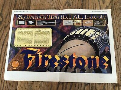 1929 Vintage Art Deco Colorful Firestone Tires CF Ad Advertisement Super Cool