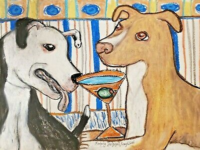 PIT BULL TERRIER Drinking a Martini Dog Art Print 13x19 Signed by Artist KSams
