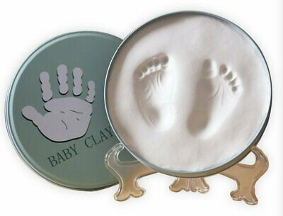 Babies Bloom White Round Iron Box Baby Hand, Foot Print Frame Baby Souvenir Gift