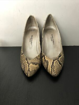 Vintage Leather Pierre Cardin Brown Beige Snakeskin Shoes Size 4/5 5