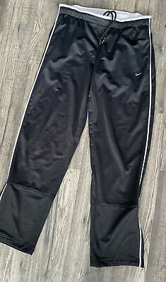Mens Designer Nike Genuine Black White Track Bottoms Size Uk L