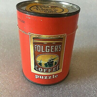 VTG Folger's Coffee 56 Piece Puzzle In Metal Top Mini Coffee Can Complete