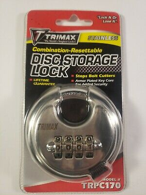 Trimax TRPC170 Stainless Steel Combo Round Disc Storage Lock 10mm Shackle
