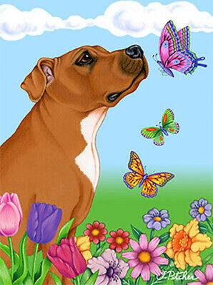 Butterfly House Flag - Brown Pit Bull Terrier 98093