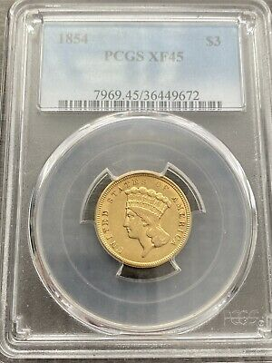 M14025- 1854 $3 Gold Princess Pcgs Xf45