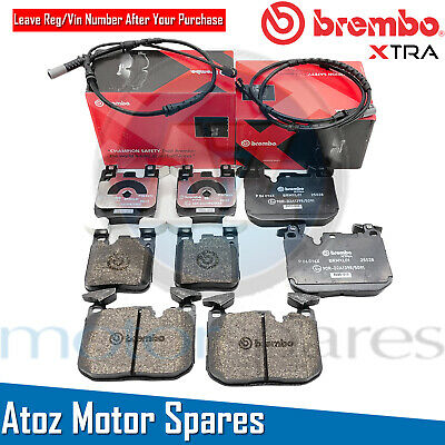 For Bmw 3/4 Series Front Rear Brembo Xtra Performance Brake Pads Sensors Fr/Rr