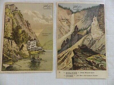 (2)  J.D. Larkin Trade Cards, Pinacles in Grand Canon/Hudson at Cozzens's