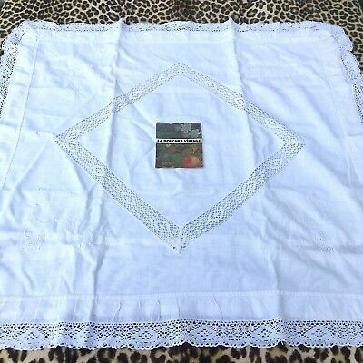 FRENCH 1800s SQUARE BED PILLOW COVER~EMBROIDERED WHITE COTTON~HANDMADE IN FRANCE