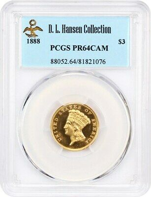 1888 $3 PCGS PR 64 CAM ex: D.L. Hansen - 3 Princess Gold Coin - Scarce Proof $3