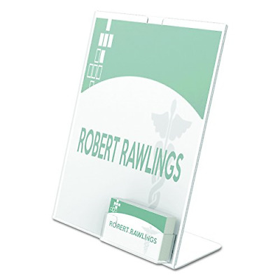 """Deflecto Superior Image Slanted Sign with Business Card Holder, 11"""" x 8 1/2"""""""