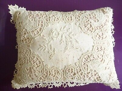 Small 'baby' pillow with  lace case depicting lions & peacocks 18 x 13 cms AF