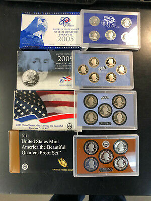 (4) - DIFFERENT STATE QUARTER PROOF SETS in ORIGINAL MINT BOXES...w/low shipping