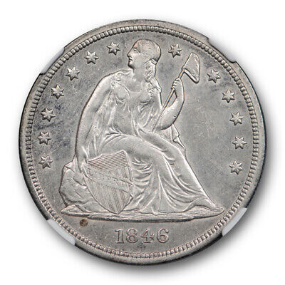 1846 $1 Seated Liberty Dollar NGC XF 45 Extra Fine to About Uncirculated US T...