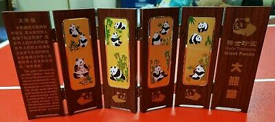 Treasure Giant Panda Folding Hinged Wood Screen Divider Stand Chinese With Case