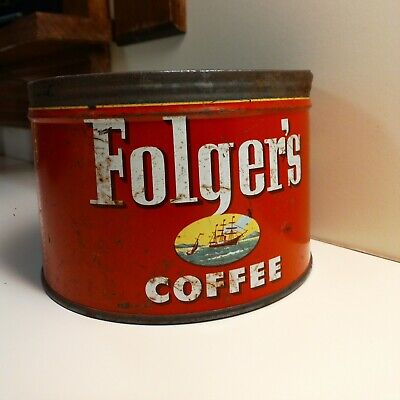 Vintage Folgers Coffee Tin Can, 1950s Mid-Century