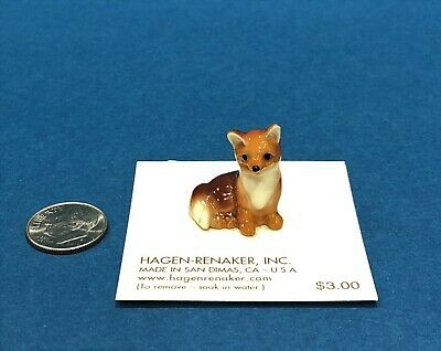 Hagen-Renaker Miniature Ceramic Figurine Red Fox Baby #02021 So Tiny And Cute!